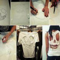 DIY Skeleton Cut Out Shirt