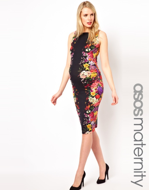 ASOS maternity midi dress in mirror floral