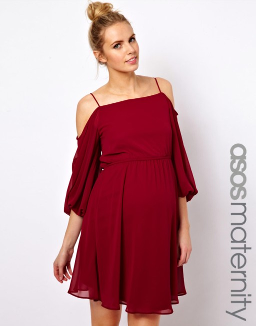ASOS maternity skater dress with open shoulder