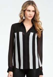 Stripe-Block-Long-Sleeve-Button-Up-Blouse-by-bebe-210x300