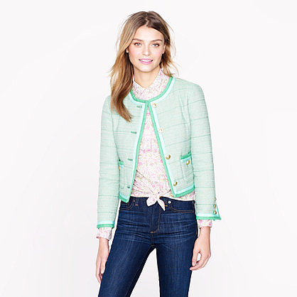 J Crew spearmint tweet jacket
