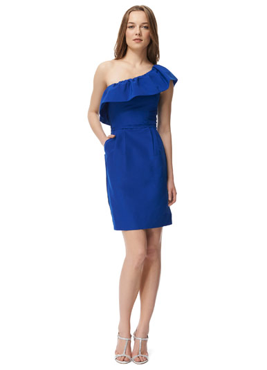 Rebecca Taylor one shoulder ruffle dress