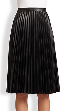 Elsa Faux Leather Pleated Skirt by BCBGMAXAZRIA