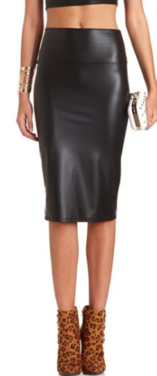 PU BODY-CON MIDI SKIRT