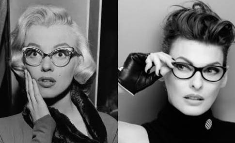 Marilyn Monroe and Linda Evangelista wearing glasses
