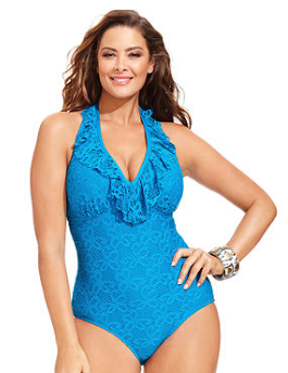 Kenneth Cole Reaction Plus Size Crochet One-Piece Swimsuit
