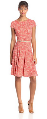 Jessica Howard Women's Petite Printed Fit and Flare Belted Dress